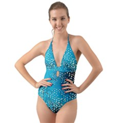 Flower Back Leaf River Blue Star Halter Cut Out One Piece Swimsuit by Mariart