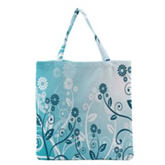 Flower Blue River Star Sunflower Grocery Tote Bag by Mariart