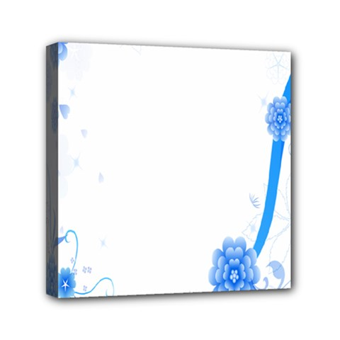 Flower Blue Sunflower Star Sexy Mini Canvas 6  X 6  by Mariart