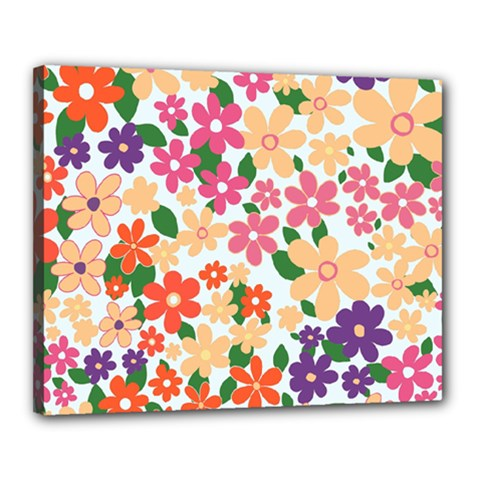 Flower Floral Rainbow Rose Canvas 20  X 16  by Mariart