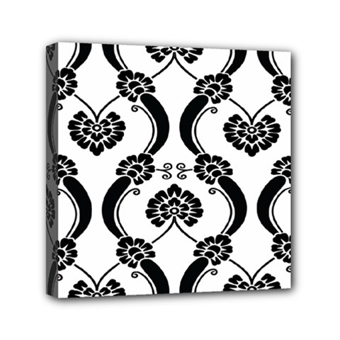 Flower Floral Black Sexy Star Black Mini Canvas 6  X 6  by Mariart