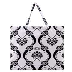Flower Floral Black Sexy Star Black Zipper Large Tote Bag by Mariart