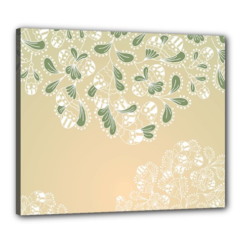 Flower Frame Green Sexy Canvas 24  X 20  by Mariart