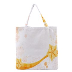 Flower Floral Yellow Sunflower Star Leaf Line Grocery Tote Bag by Mariart