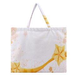 Flower Floral Yellow Sunflower Star Leaf Line Zipper Large Tote Bag by Mariart