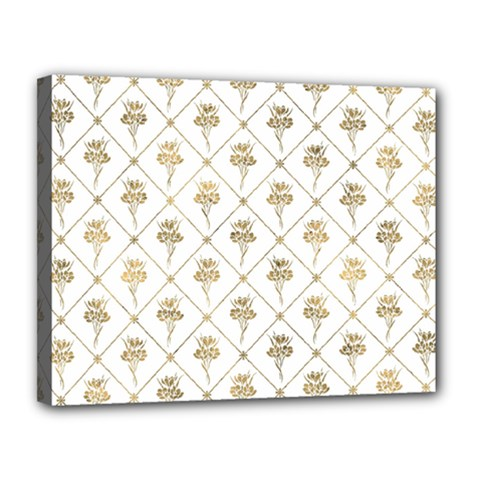 Flower Leaf Gold Canvas 14  X 11  by Mariart