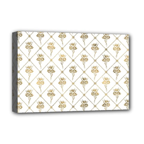 Flower Leaf Gold Deluxe Canvas 18  X 12   by Mariart