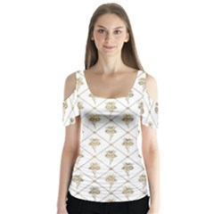 Flower Leaf Gold Butterfly Sleeve Cutout Tee  by Mariart
