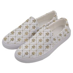 Flower Leaf Gold Men s Canvas Slip Ons by Mariart
