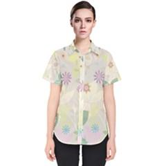 Flower Rainbow Star Floral Sexy Purple Green Yellow White Rose Women s Short Sleeve Shirt
