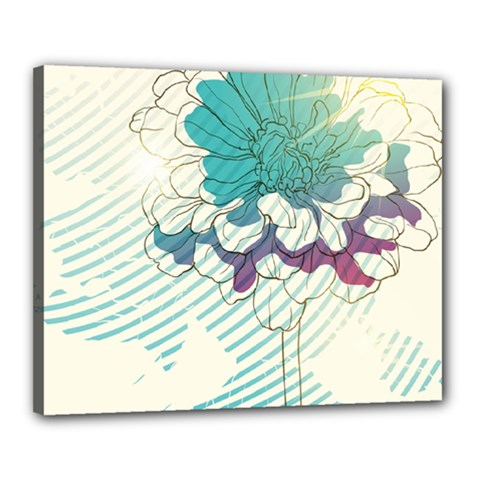 Flower Rose Purple Sunflower Lotus Canvas 20  X 16  by Mariart