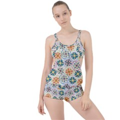 Flower Rainbow Fan Sunflower Circle Sexy Boyleg Tankini Set