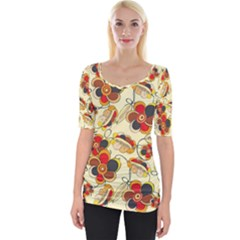 Flower Seed Rainbow Rose Wide Neckline Tee