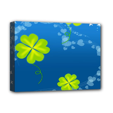 Flower Shamrock Green Blue Sexy Deluxe Canvas 16  X 12