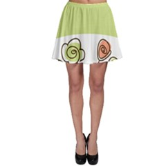 Flower Simple Green Rose Sunflower Sexy Skater Skirt by Mariart