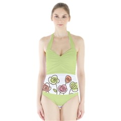 Flower Simple Green Rose Sunflower Sexy Halter Swimsuit by Mariart