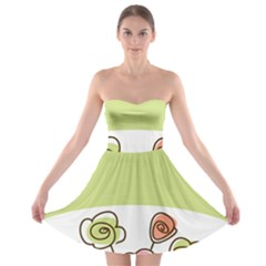Flower Simple Green Rose Sunflower Sexy Strapless Bra Top Dress by Mariart