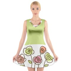 Flower Simple Green Rose Sunflower Sexy V Neck Sleeveless Skater Dress by Mariart