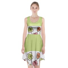 Flower Simple Green Rose Sunflower Sexy Racerback Midi Dress