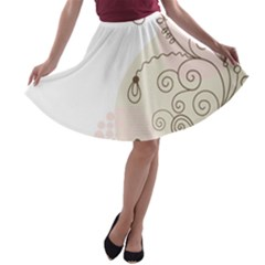 Flower Simple Pink A Line Skater Skirt by Mariart