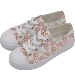 Flower Rose Red Green Sunflower Star Kids  Low Top Canvas Sneakers by Mariart