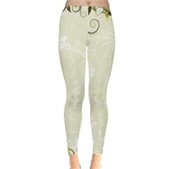Flower Star Floral Green Camuflage Leaf Frame Leggings  by Mariart
