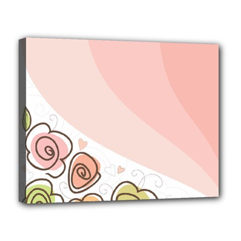 Flower Sunflower Wave Waves Pink Canvas 14  X 11  by Mariart