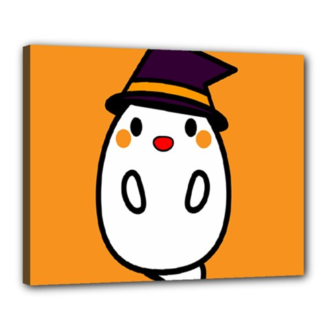 Halloween Ghost Orange Canvas 20  X 16  by Mariart