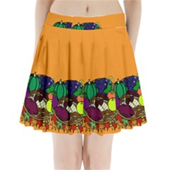 Healthy Vegetables Food Pleated Mini Skirt