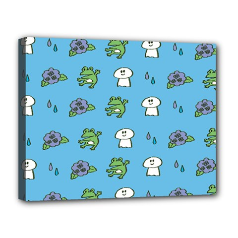 Frog Ghost Rain Flower Green Animals Canvas 14  X 11  by Mariart