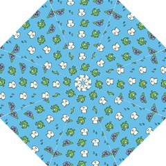 Frog Ghost Rain Flower Green Animals Folding Umbrellas by Mariart