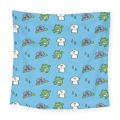 Frog Ghost Rain Flower Green Animals Square Tapestry (large) by Mariart