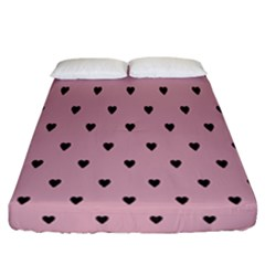 Love Black Pink Valentine Fitted Sheet (california King Size) by Mariart