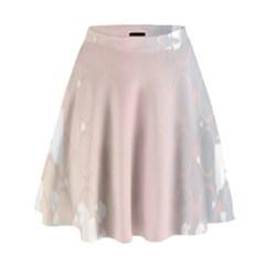 Love Heart Flower Purple Sexy Rose High Waist Skirt