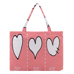 Love Heart Valentine Pink White Sexy Medium Tote Bag by Mariart