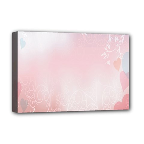 Love Heart Pink Valentine Flower Leaf Deluxe Canvas 18  X 12   by Mariart