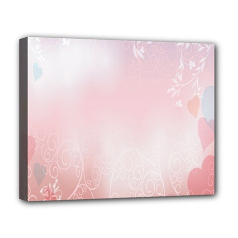 Love Heart Pink Valentine Flower Leaf Deluxe Canvas 20  X 16   by Mariart