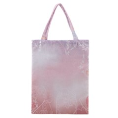 Love Heart Pink Valentine Flower Leaf Classic Tote Bag by Mariart