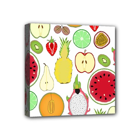 Mango Fruit Pieces Watermelon Dragon Passion Fruit Apple Strawberry Pineapple Melon Mini Canvas 4  X 4  by Mariart