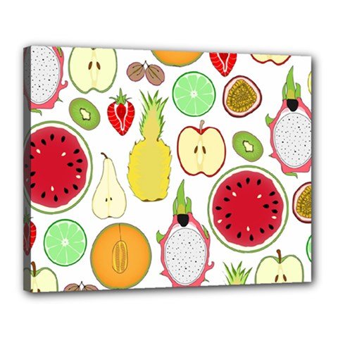 Mango Fruit Pieces Watermelon Dragon Passion Fruit Apple Strawberry Pineapple Melon Canvas 20  X 16  by Mariart