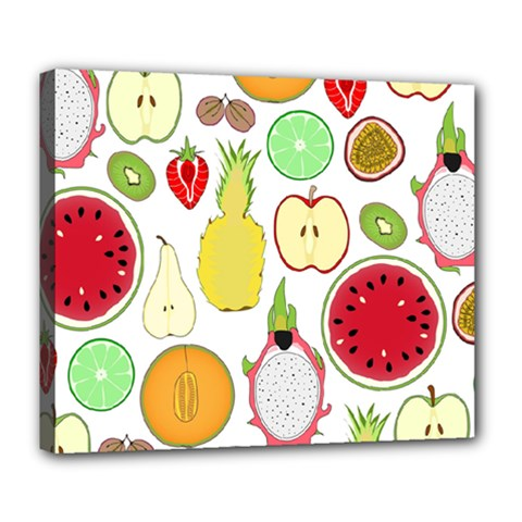 Mango Fruit Pieces Watermelon Dragon Passion Fruit Apple Strawberry Pineapple Melon Deluxe Canvas 24  X 20   by Mariart