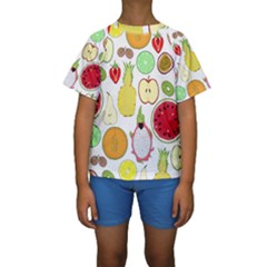 Mango Fruit Pieces Watermelon Dragon Passion Fruit Apple Strawberry Pineapple Melon Kids  Short Sleeve Swimwear by Mariart