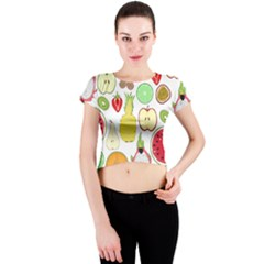 Mango Fruit Pieces Watermelon Dragon Passion Fruit Apple Strawberry Pineapple Melon Crew Neck Crop Top by Mariart