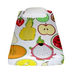 Mango Fruit Pieces Watermelon Dragon Passion Fruit Apple Strawberry Pineapple Melon Fitted Sheet (single Size) by Mariart