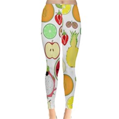 Mango Fruit Pieces Watermelon Dragon Passion Fruit Apple Strawberry Pineapple Melon Classic Winter Leggings by Mariart