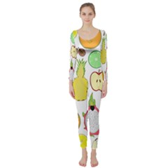 Mango Fruit Pieces Watermelon Dragon Passion Fruit Apple Strawberry Pineapple Melon Long Sleeve Catsuit by Mariart