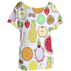 Mango Fruit Pieces Watermelon Dragon Passion Fruit Apple Strawberry Pineapple Melon Women s Oversized Tee by Mariart