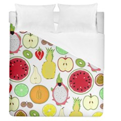 Mango Fruit Pieces Watermelon Dragon Passion Fruit Apple Strawberry Pineapple Melon Duvet Cover (queen Size) by Mariart