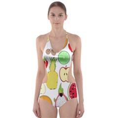 Mango Fruit Pieces Watermelon Dragon Passion Fruit Apple Strawberry Pineapple Melon Cut Out One Piece Swimsuit by Mariart