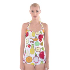 Mango Fruit Pieces Watermelon Dragon Passion Fruit Apple Strawberry Pineapple Melon Boyleg Halter Swimsuit  by Mariart